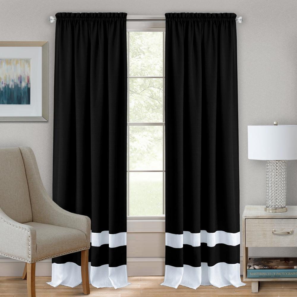 Achim 52 in. W x 63 in. L Darcy Black/White Polyester Rod Pocket Curtain