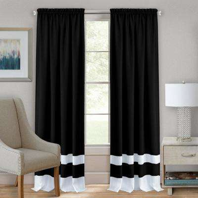 52 in. W x 63 in. L Darcy Black/White Polyester Rod Pocket Curtain