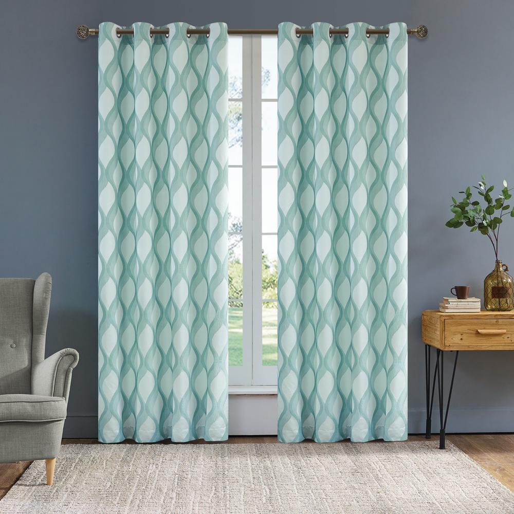 Rivoli 95 in. L x 54 in. W Semi-Opaque Room Darkening Polyester Curtain in Pearl Blue