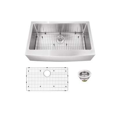 Apron-Front Stainless Steel 30 in. Single Bowl Kitchen Sink
