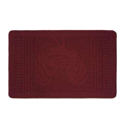Mr. Rooster Textured Loop Barn Red 18 in. x 28 in. Oblong Kitchen Rug