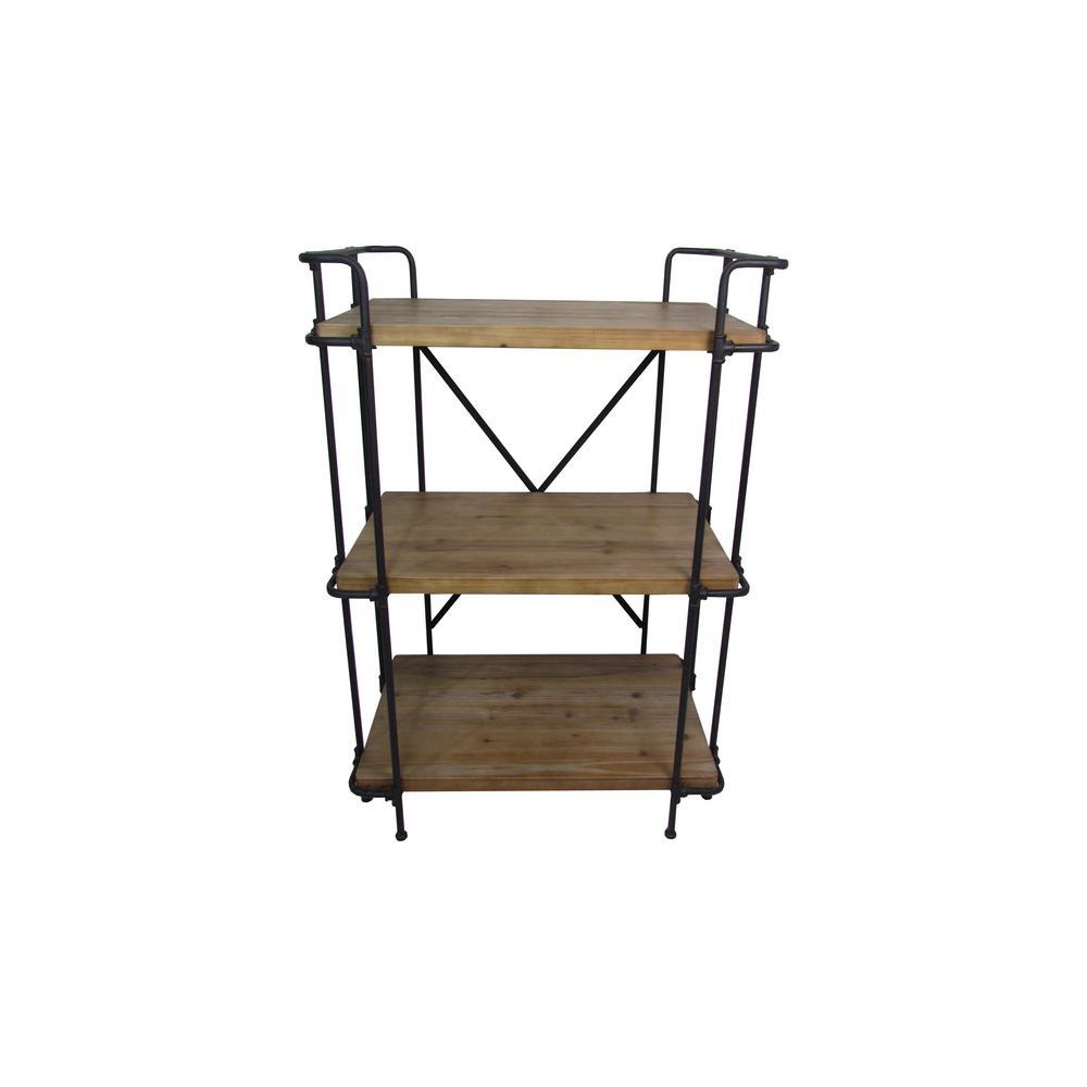 Noble House Eden Plummers Antique Brown 3-Tier Outdoor Shelf