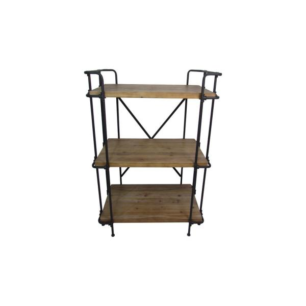 Noble House Eden Plummers Antique Brown 3-Tier Outdoor Shelf 298892