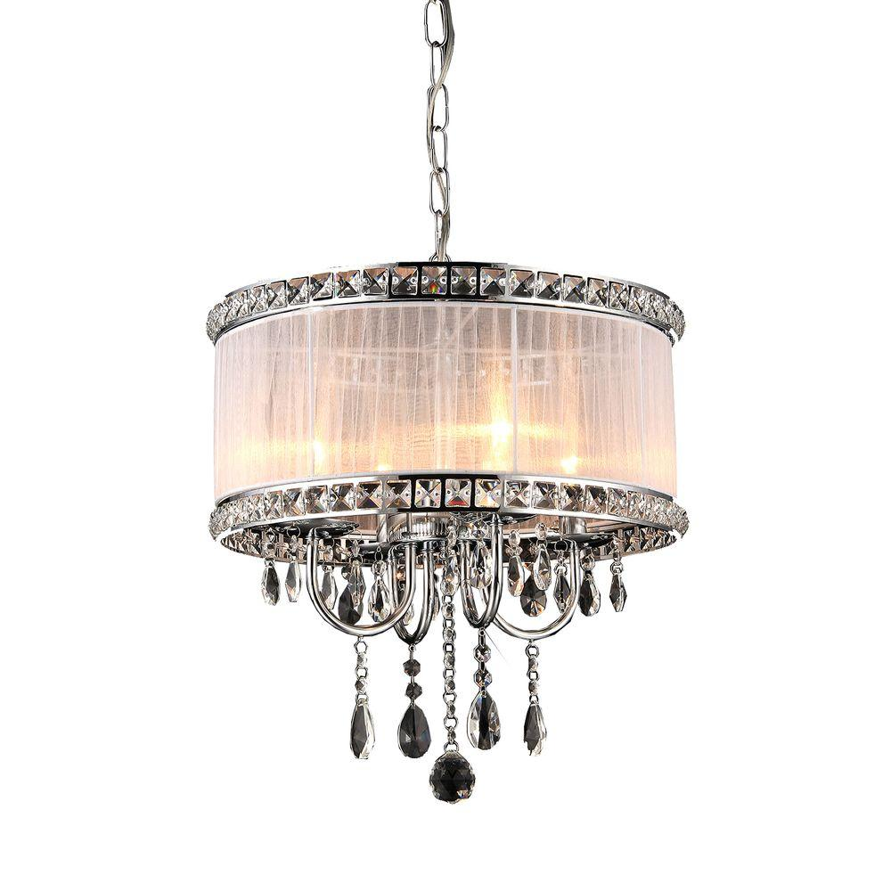 Odessa 4 Light Chrome Indoor White Fabric Crystal Chandelier With Shade