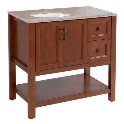 Catalina 36.5 in. W Vanity in Amber with Stone Effects Vanity Top in Sienna with White Basin