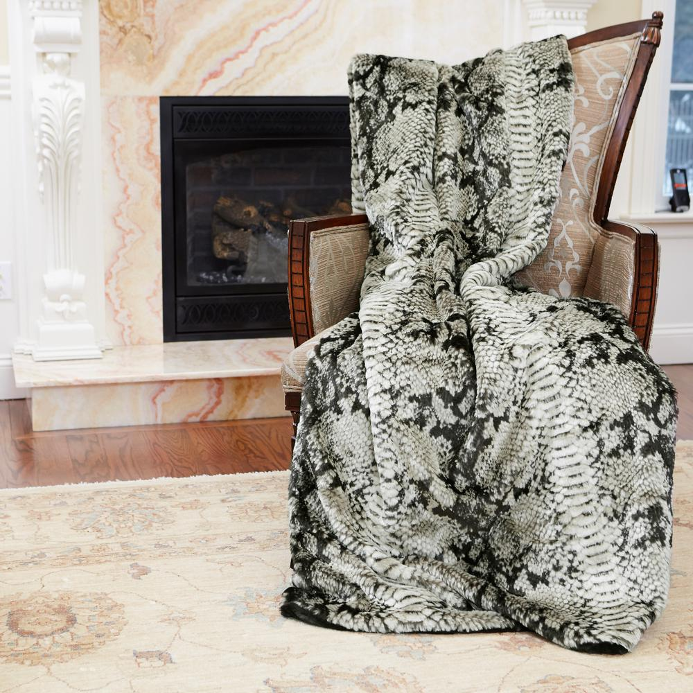 84 in. L Snakeskin Faux Browns Fur Throw