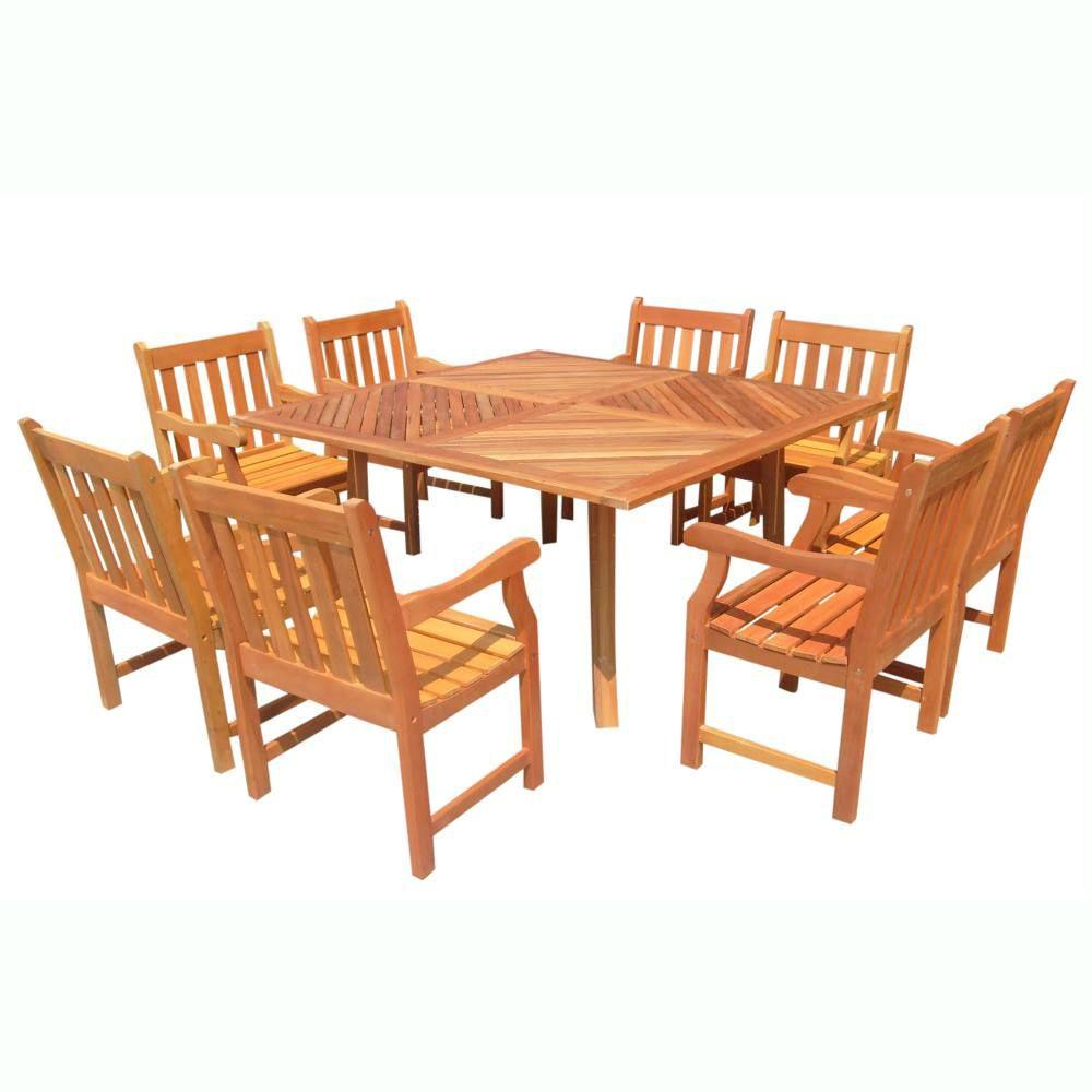 Vifah Roch Eucalyptus 9-Piece Patio Dining Set with 60 in. Square Table and Slat-Back Armchairs