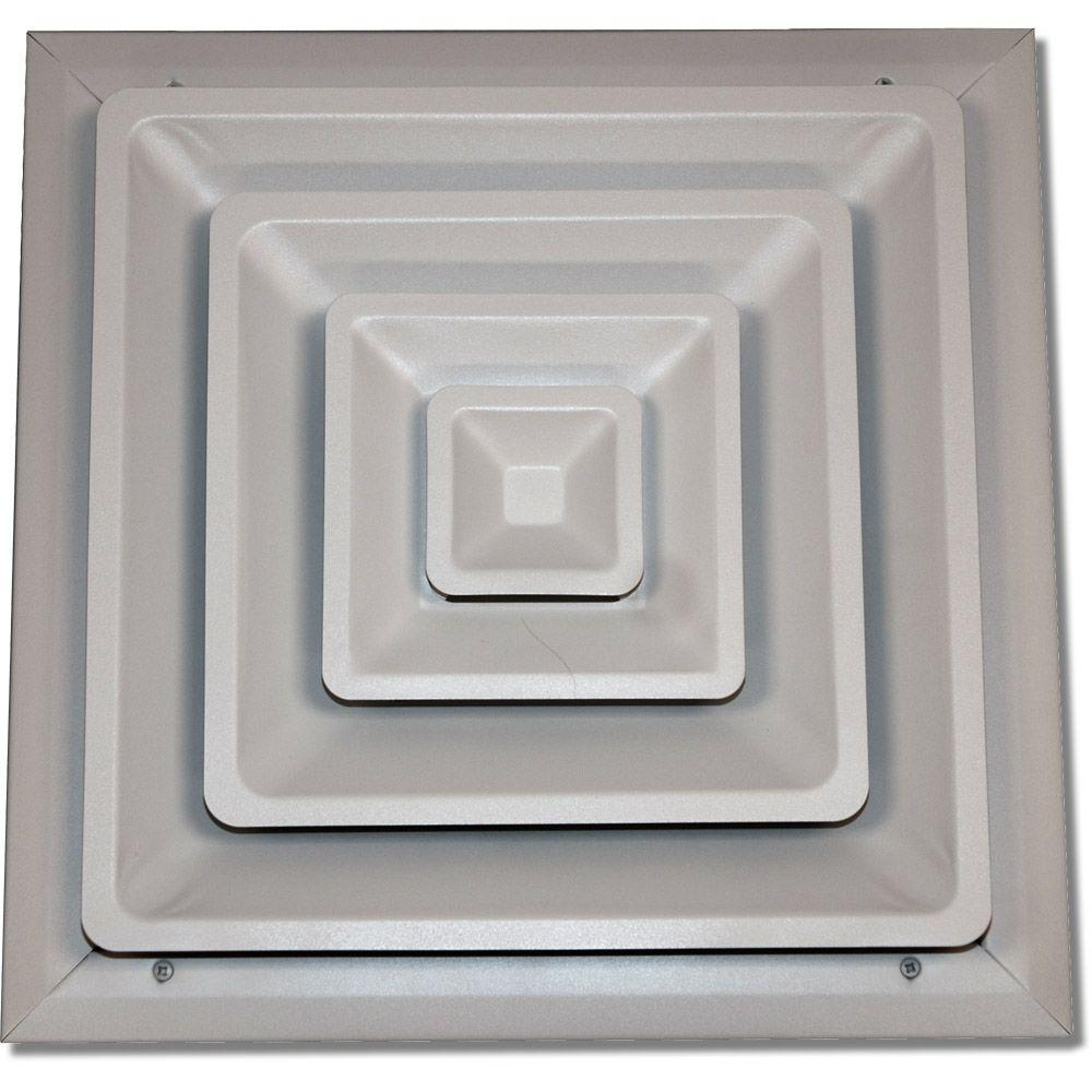 14 in. x 14 in. Ceiling Register, White with Fixed Cone
