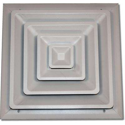 14 in. x 14 in. Ceiling Register, White with Fixed Cone Diffuser