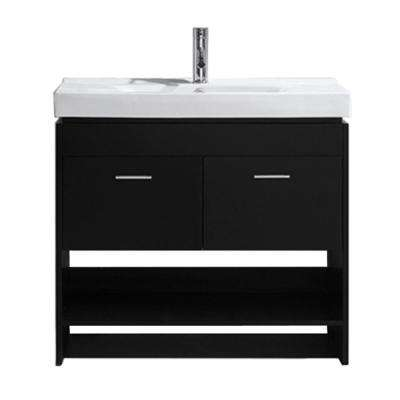 Gloria 36 in. W Bath Vanity in Espresso with Ceramic Vanity Top in White Ceramic with Square Basin and Faucet
