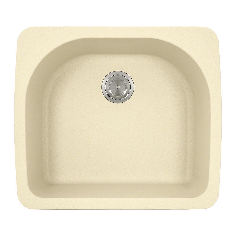 Drop-in Granite Composite 25 in. Single Bowl Kitchen Sink in Beige