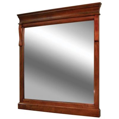 30 in. W x 32 in. H Framed Rectangular  Bathroom Vanity Mirror in Warm Cinnamon