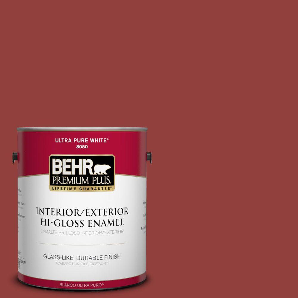 BEHR Premium Plus 1-gal. #BIC-49 Red Red Red Hi-Gloss Enamel Interior/Exterior Paint