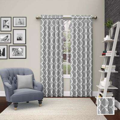 Vickery 63 in. L Polyester Rod Pocket Drapery Panel Pair in Gray