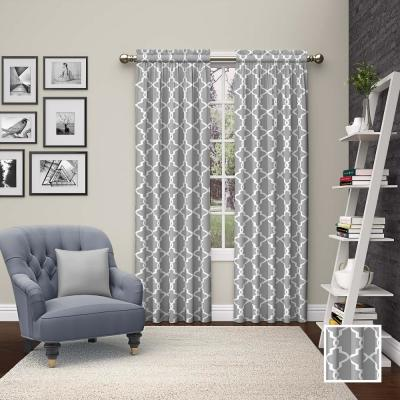 Vickery Window Curtain Panels in Grey - 56 in. W x 63 in. L (2-Pack)