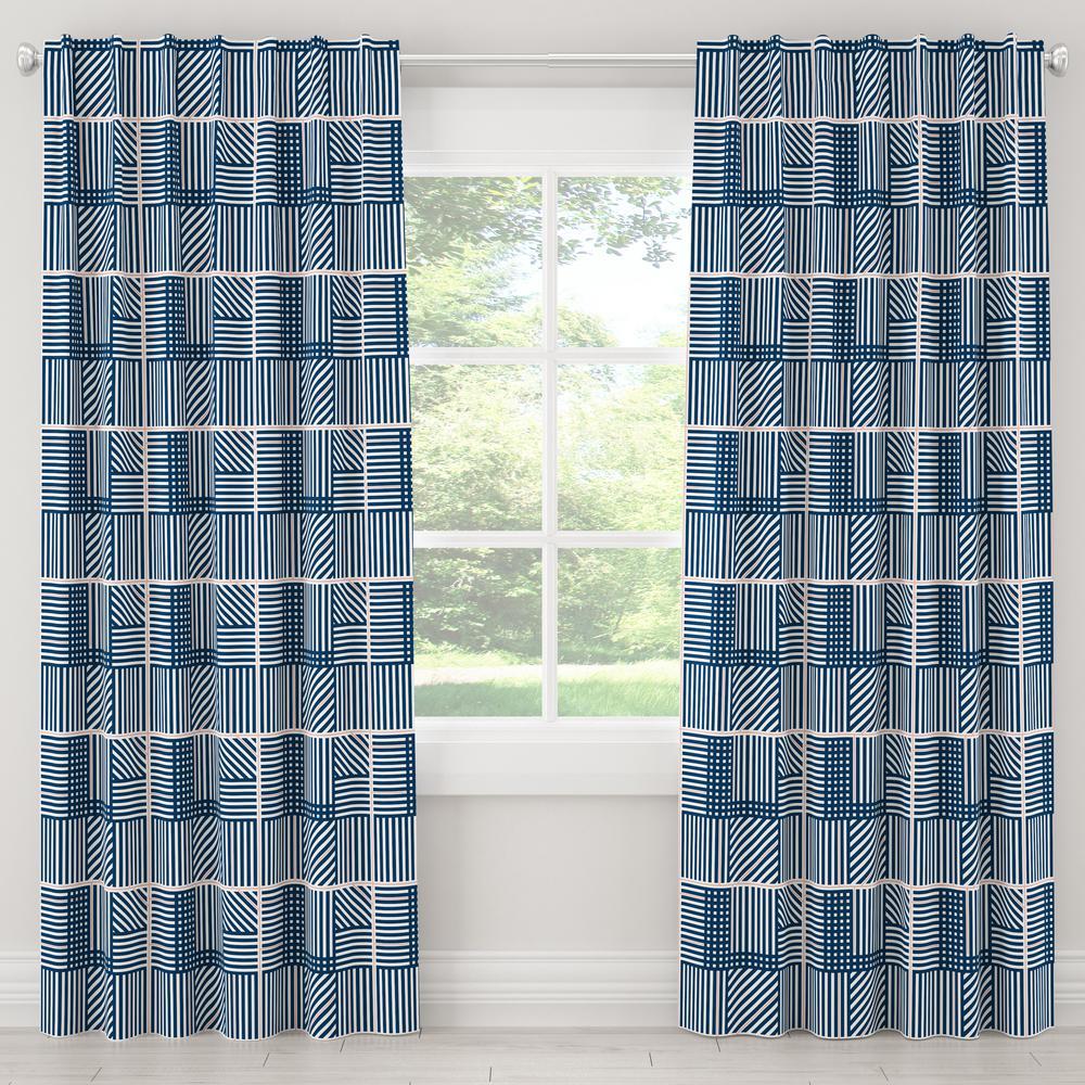 Skyline Furniture 50 in. W x 96 in. L Blackout Curtain in Framed Stripe Navy Blush