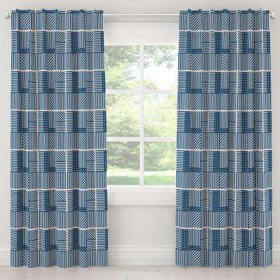 50 in. W x 120 in. L Blackout Curtain in Framed Stripe Navy Blush