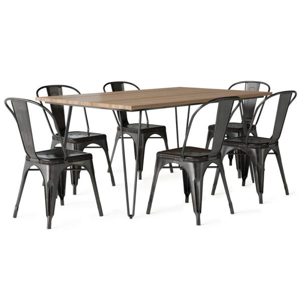Keiran IV 7-Piece Solid Mango Wood and Metal 66 in. W Distressed Black and Copper Dining Set with 6-Metal Dining Chairs