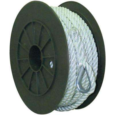 3/8 in. x 150 ft. 3 - Strand Twisted Nylon Anchor Line in White