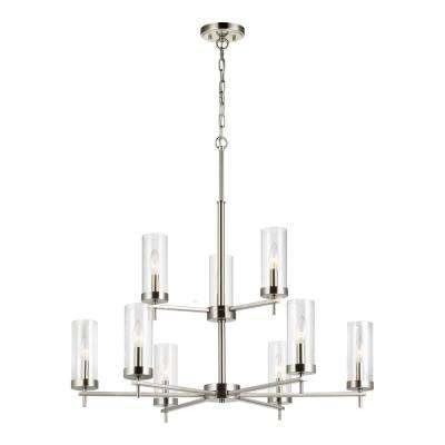 Zire 9-Light Brushed Nickel Chandelier with Clear Glass Shades with Dimmable Candelabra LED Bulb