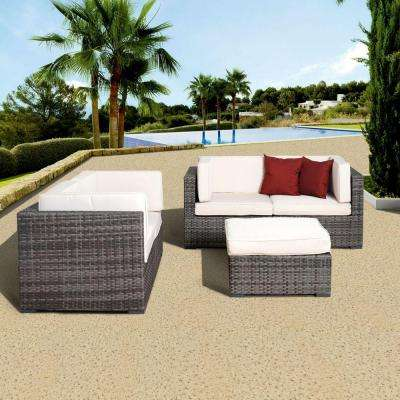 Nice Grey 5-Piece All-Weather Wicker Patio Seating Set with Off-White Cushions