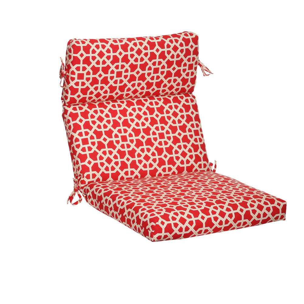 Attractive Hampton Bay Ruby Geo Outdoor Dining Chair Cushion