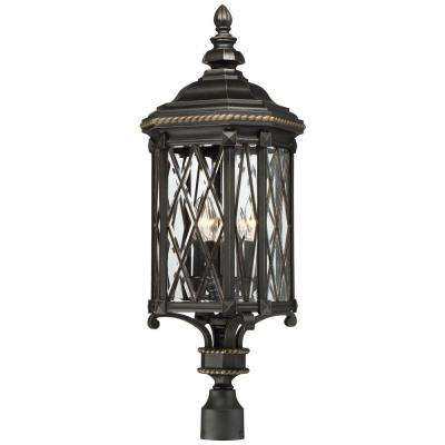 Bexley Manor 4-Light Black with Gold Highlights Post Mount