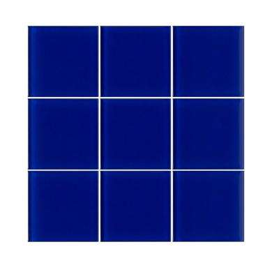 VitraArt Tranquil Cobalt 4 in. x 4 in. Glass Wall Tile (6 sq. ft. / case)