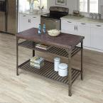 Home Styles Urban Style Aged Rust Kitchen Utility Table with Concrete Top