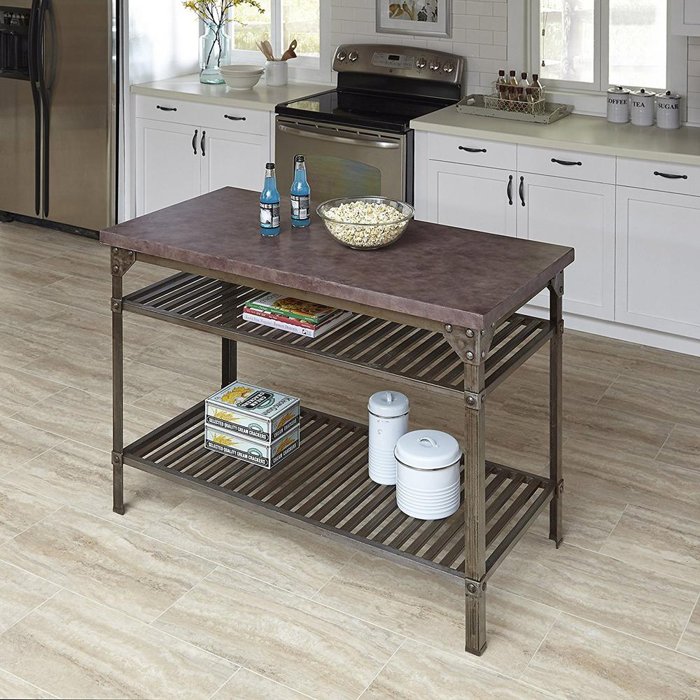 Urban Style Aged Rust Kitchen Utility Table ...