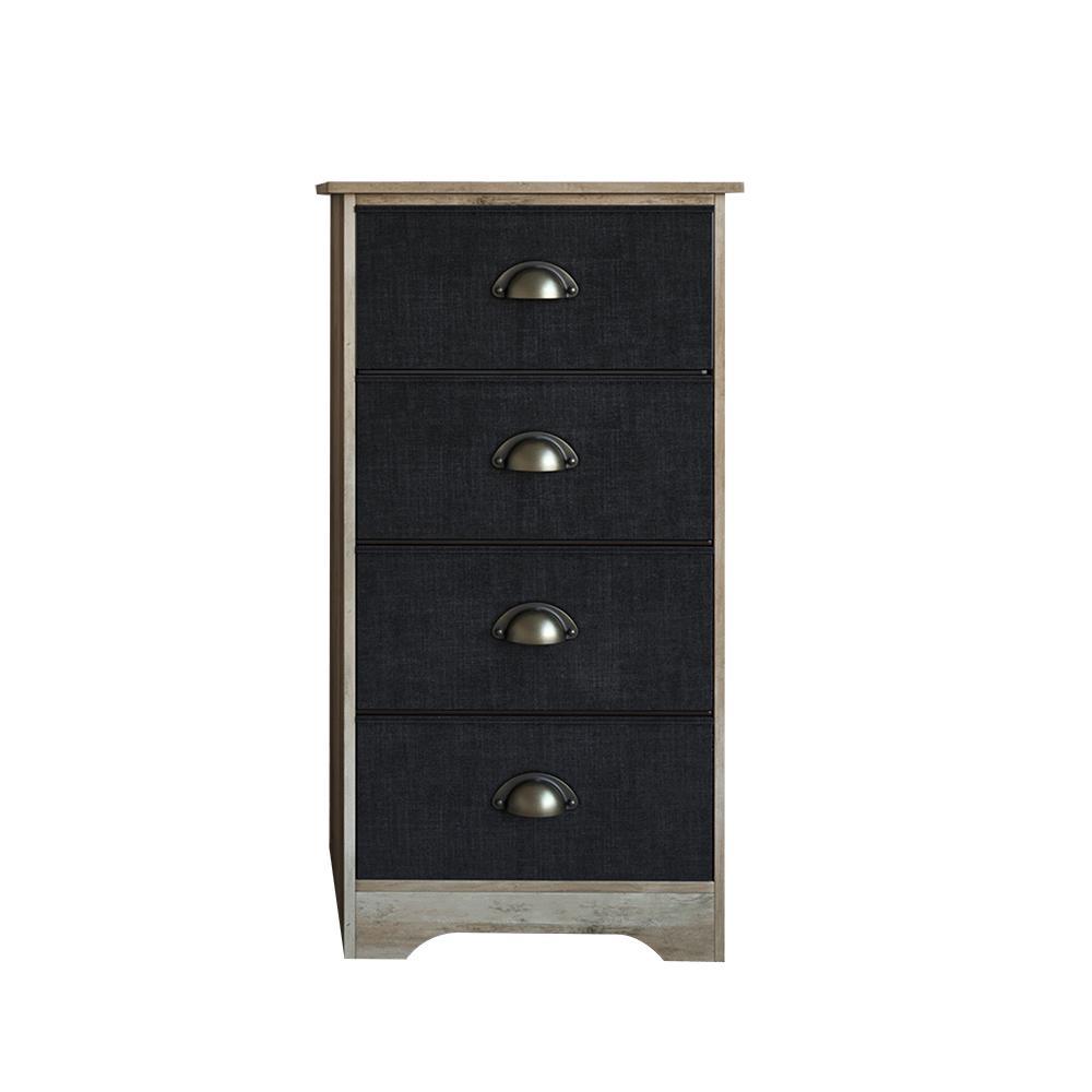 Calvin 4 Drawer Antique Dry Gray Oak Wood Dresser With Br Metal Handle