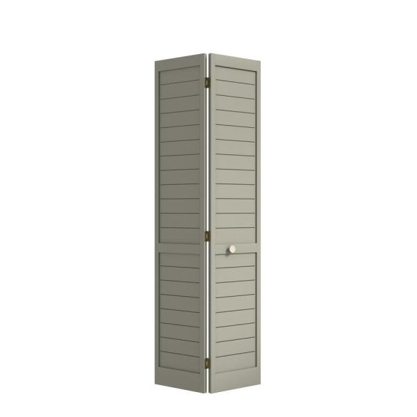 24 in. x 80 in. x 1 in. Grey Finished Pine Wood Shaker Bi-Fold Louver with Hardware Included