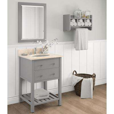 Harrison 25 in. W x 22 in. D Vanity in Gray with Marble Vanity Top in Beige with White Basin and Mirror