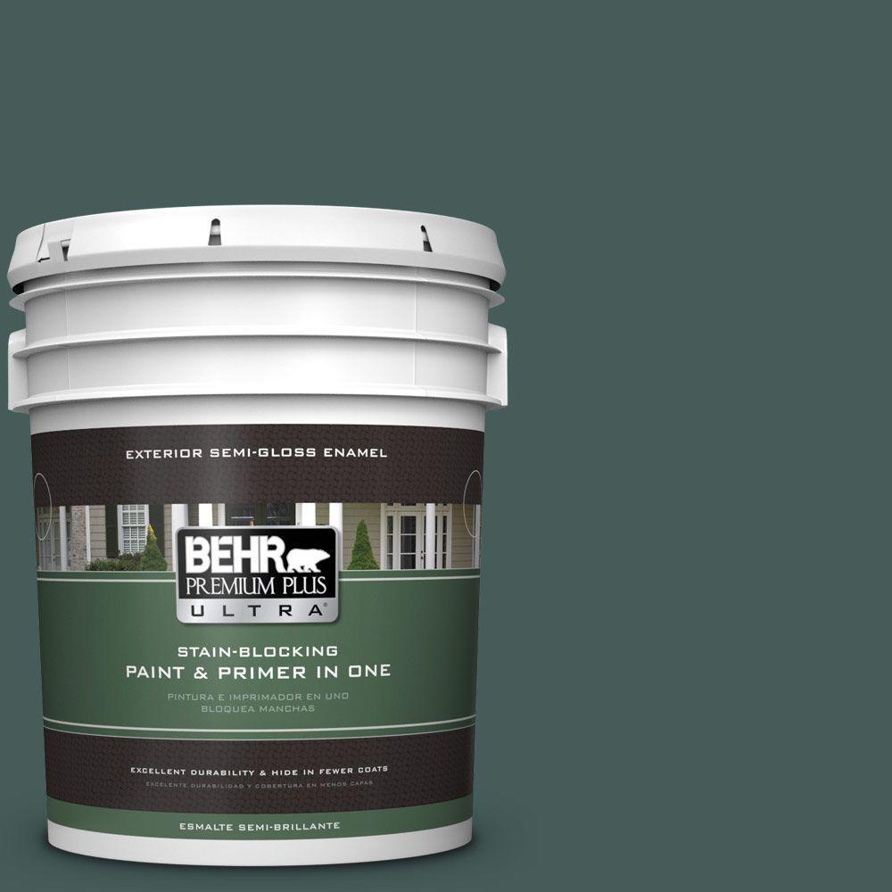 BEHR Premium Plus Ultra 5-gal. #490F-7 Jungle Green Semi-Gloss Enamel Exterior Paint