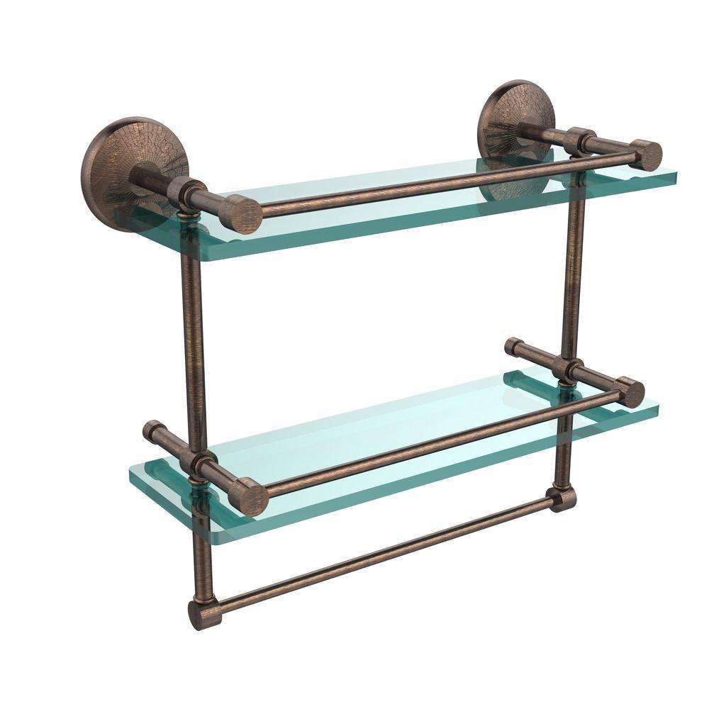 Monte Carlo 16 in. L  x 12 in. H  x 5 in. W 2-Tier Clear Glass Bathroom Shelf with Towel Bar in Venetian Bronze