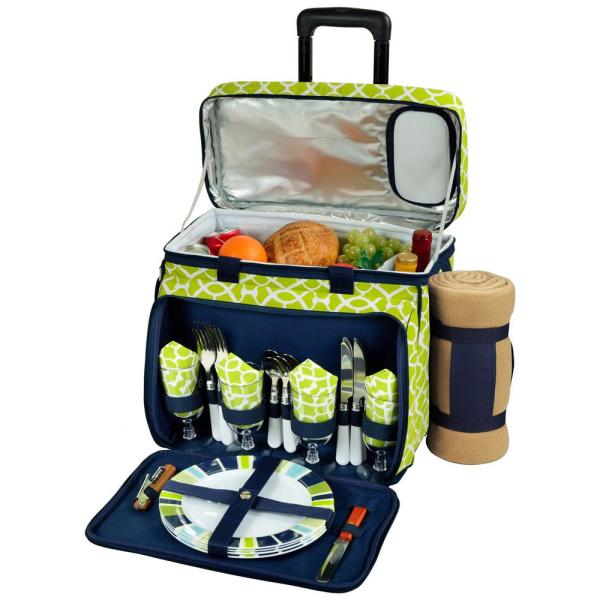 Deluxe Wheeled Picnic Cooler Equipped for 4 with Blanket in Trellis