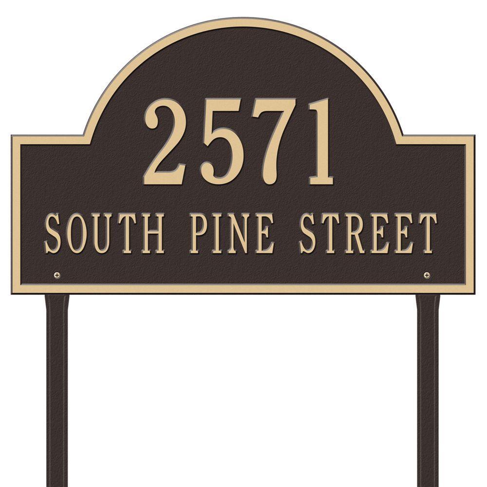 Arch Marker Estate Lawn 2-Line Address Plaque - Bronze/Gold