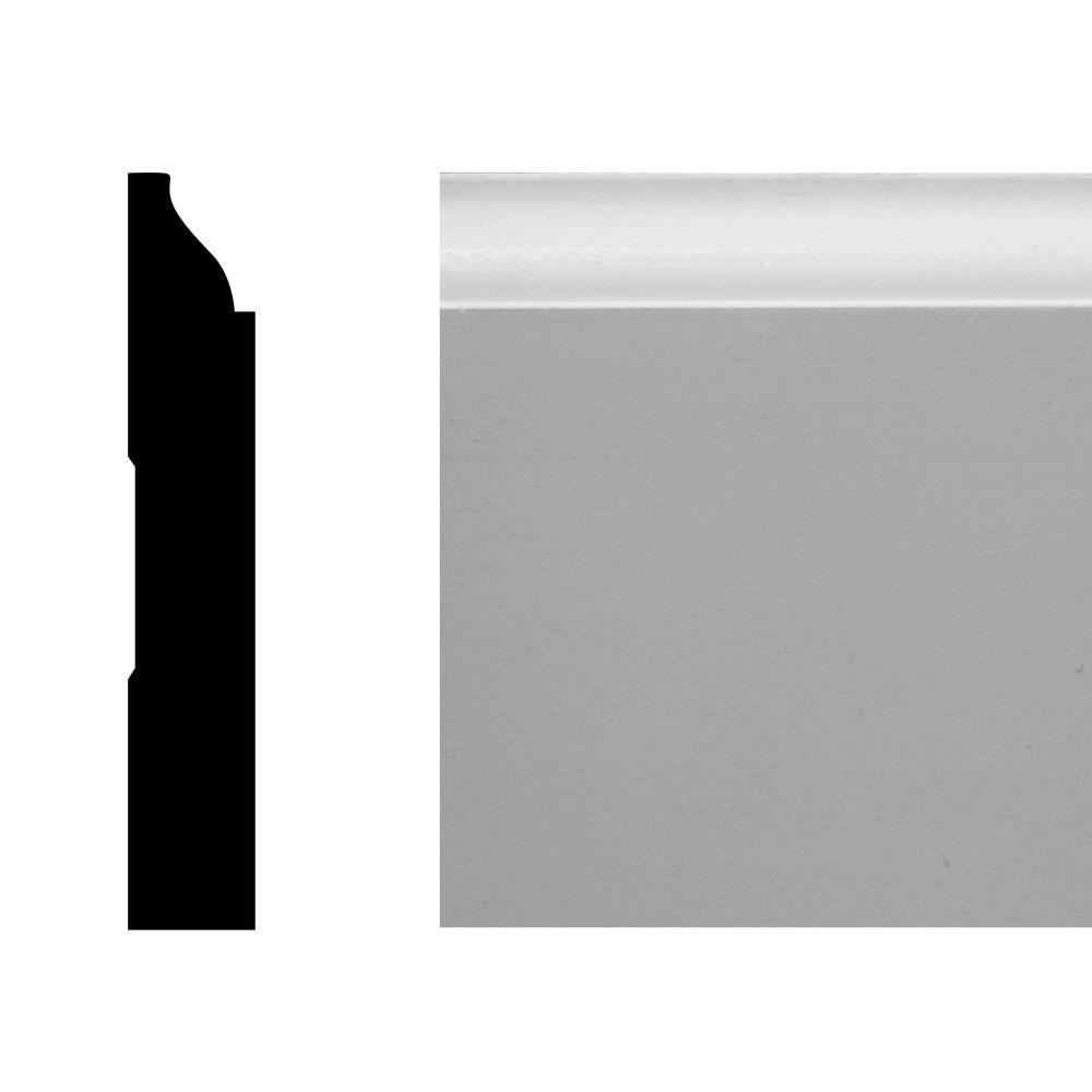 null LWM 623 1/2 in. x 3 1/4 in. x 144 in. MDF Primed Base Moulding Pro Pack 120 LF (10-Pieces)