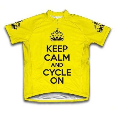 Small Yellow Keep Calm and Cycle on Microfiber Short-Sleeved Cycling Jersey