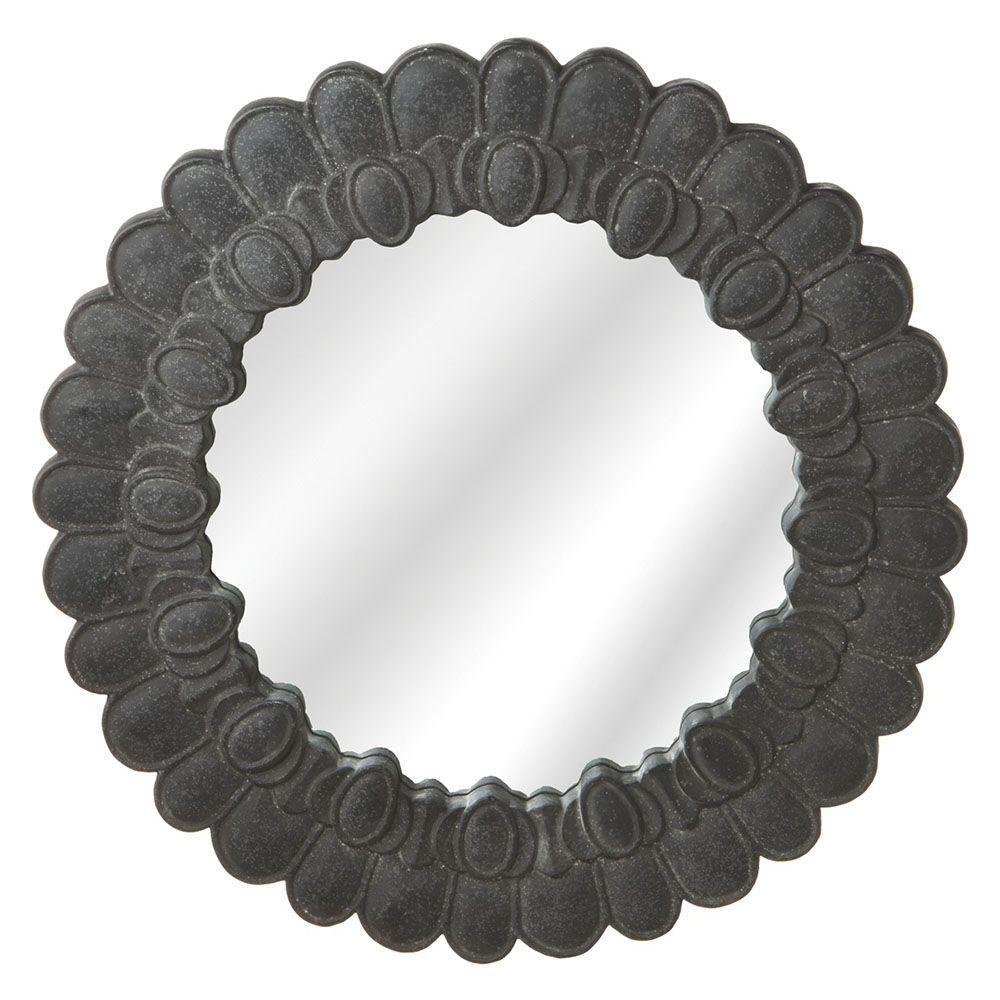 Filament Design Sundry 28 in. x 28 in. Black Petal Framed Wall Mirror