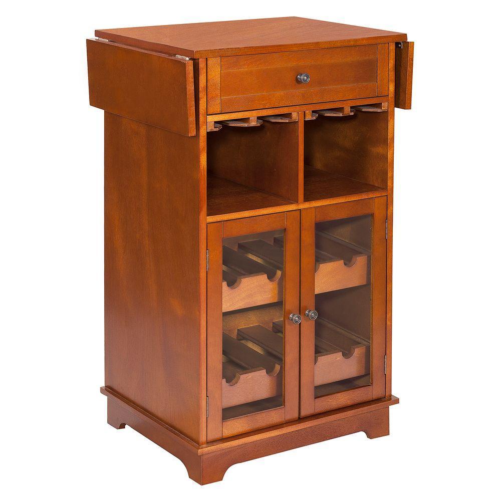 Elegant Home Fashions Parry 8-Bottle Walnut Bar Cabinet