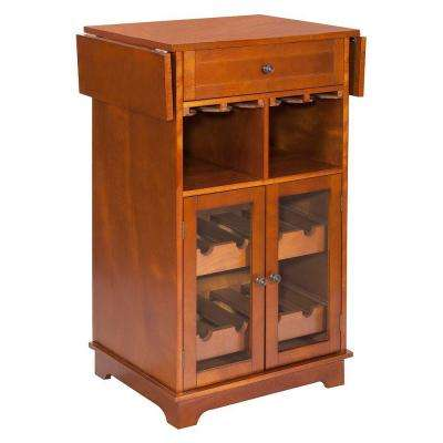 Parry 8-Bottle Walnut Bar Cabinet