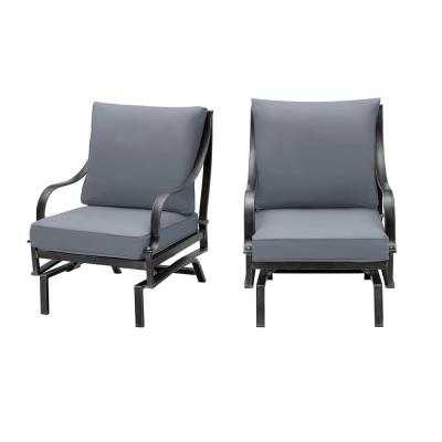 Highland Point Black Pewter Aluminum Outdoor Patio Rocking Lounge Chair with CushionGuard Steel Blue Cushions (2-Pack)