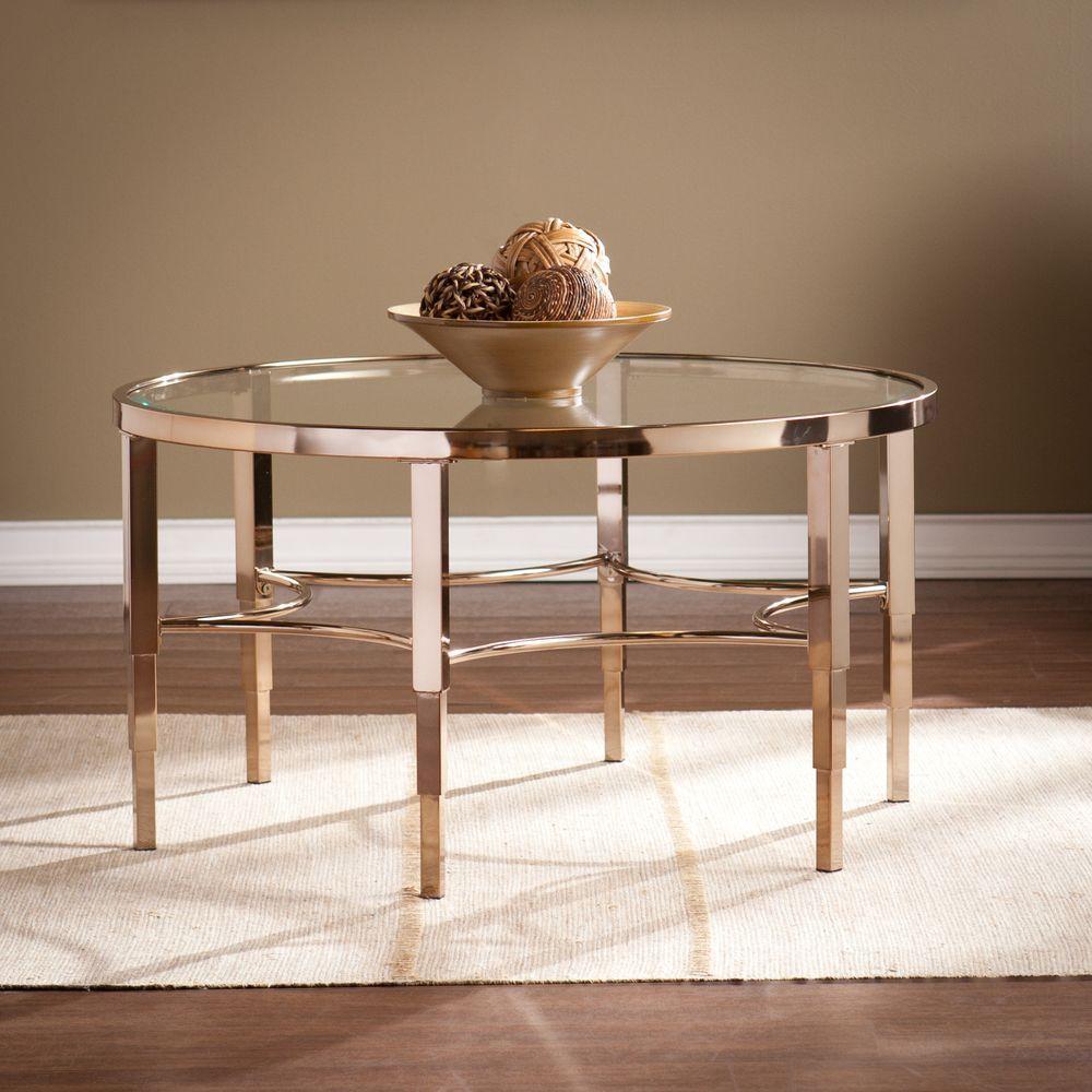 Southern Enterprises Bertha Metallic Gold Coffee Table Hd864877 The Home Depot