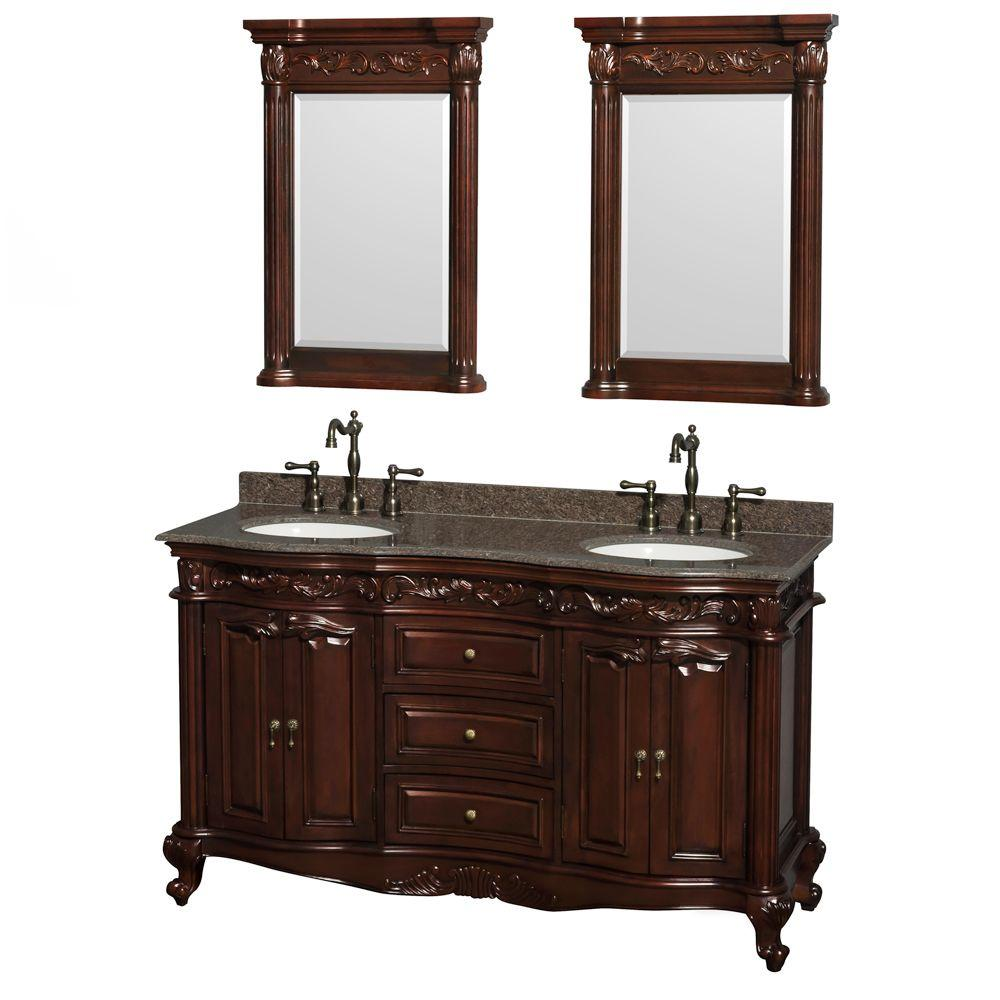 Wyndham Collection Edinburgh 60 in. Double Vanity in Cherry with Granite Vanity Top in Imperial Brown, Oval Sinks and 24 in. Mirrors