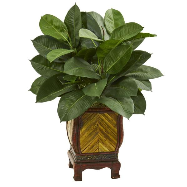 Nearly Natural Indoor 31-In. Artificial Rubber Plant in Decorative Planter 9247