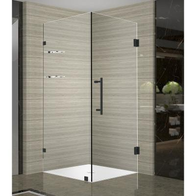 Aquadica GS 36 in. x 72 in. Frameless Corner Hinged Shower Door with Glass Shelves in Matte Black