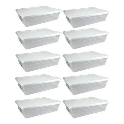 28 Qt. Clear Closet/Under Bed Organizer Storage Box Container (10-Pack)