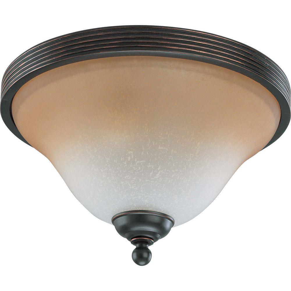 Glomar 2-Light Sudbury Bronze Flush Dome with Champagne Linen Glass