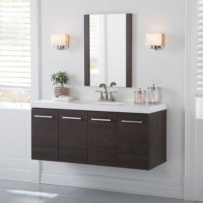 Stella 49 in. W x 19 in. D Wall Hung Bath Vanity in Elm Ember with Cultured Marble Vanity Top in White with White Sink